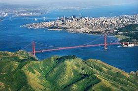 Aerial view of the Golden Gate Bridge, San Francisco, Calif.