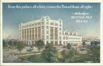 Schulze Baking Company on an old postcard