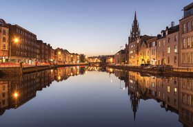 The River Lee in Cork City, Ireland at Night