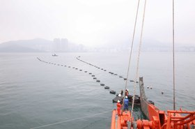 TKO Express installed across the eastern entrance of Victoria Harbor