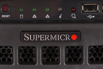 Supermicro logo on a workstation