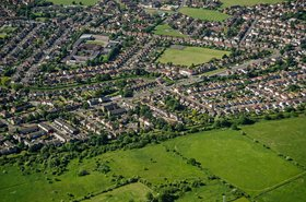 Aerial view of Feltham, UK