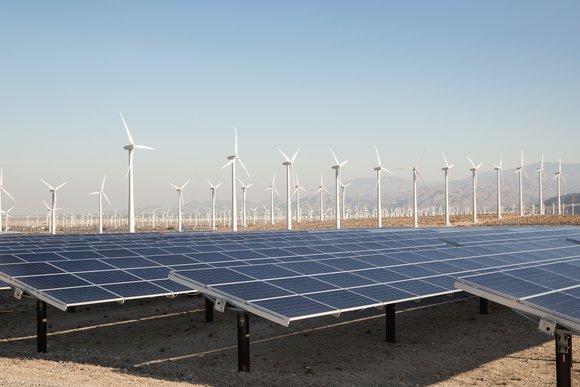 Wind turbines, solar panels