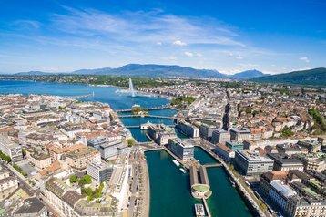 Aerial view of Leman lake, Geneva, Switzerland