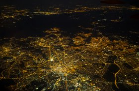 Aerial view of Manchester at night