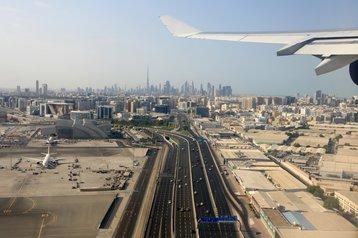 Aerial view of Dubai Airport and Ddowntown Dubai