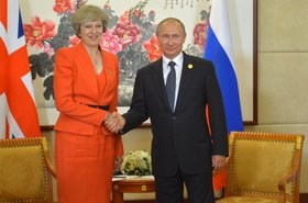 Prime Minister Theresa May with Russia's Vladimir Putin