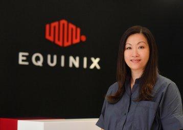 Executive Headshot of Yee May Leong with Equinix logo