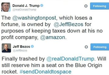 Trump spars with Bezos before becoming President