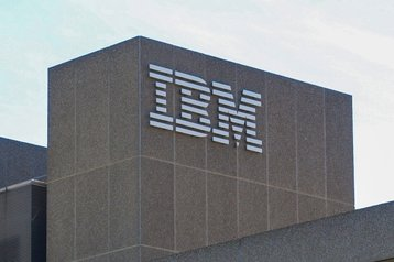 IBM logo on a building in London