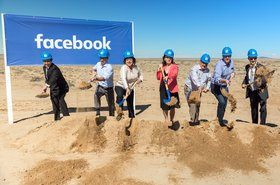 City and state officials wearing Facebook hard hats at the groundbreaking
