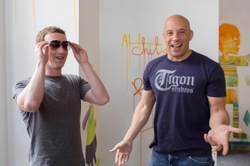 Facebook's Mark Zuckerberg with Vin Diesel