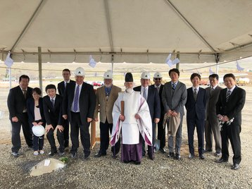 A priest blesses the construction site for Yahoo Japan's data center in East Wenatchee, Washington State