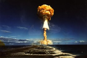 A nuclear bomb detonated by the French government at the Mururoa atoll, French Polynesia