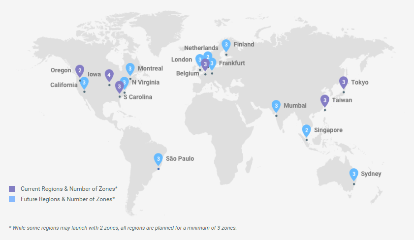 Google Cloud Regions - March 2017