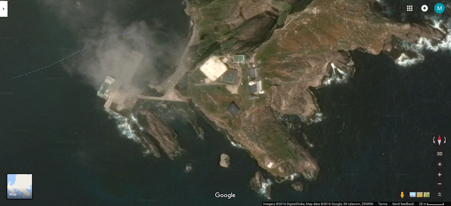 Dokdo islets, as seen from Google Maps UK, in much higher resolution