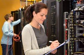 Female data center engineer
