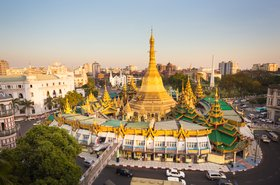 Sule pagoda in central Yangon, Myanmar