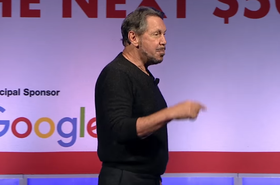 Larry Ellison being chased by Google