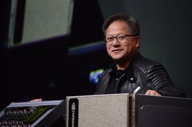 Nvidia CEO Jensen Huang with a DGX-2