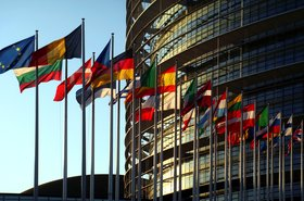 EU member states' flags in Strasbourg