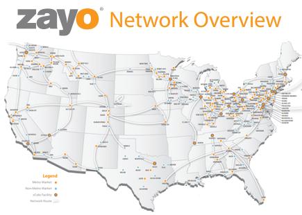 Zayo buys CoreXchange for cash - DCD Zayo Fiber Map on